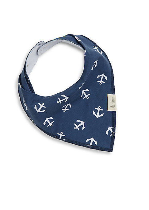 Image of .Cotton bandana styled bib with patterned graphic. .Snap closure. .Cotton. .Dry clean. .Imported. .