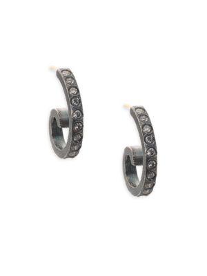 Cocco Diamond & Sterling Silver Small Hoop Earrings, Grey
