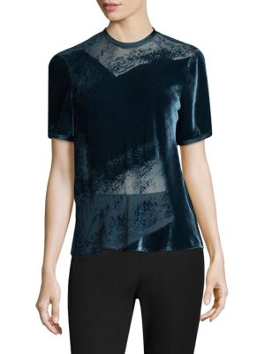 Crewneck Burnout Blouse by Donna Karan New York