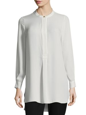 Long Sleeve Silk Henley Top by Donna Karan New York