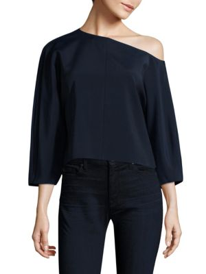 One Shoulder Faille Top by Tibi