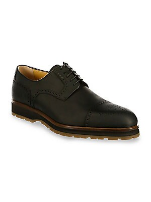 Image of Classic brogue detail styles leather derby shoe Leather upper Cap toe Lace-up vamp Leather lining Rubber sole Made in Italy. Men's Shoes - Mens Classic Footwear. A. Testoni. Color: Nero. Size: 12.