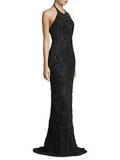 Quick View Carmen Marc Valvo Halterneck Textured Gown