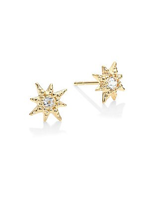 Image of Faceted Clear Topaz gemstones are encrusted in a unique micro golden setting, inspired by a starburst's silhouette. These dainty earrings are elegant, unique and perfect for everyday wear. From the Aztec Collection White topaz 14K yellow gold Diameter, ab
