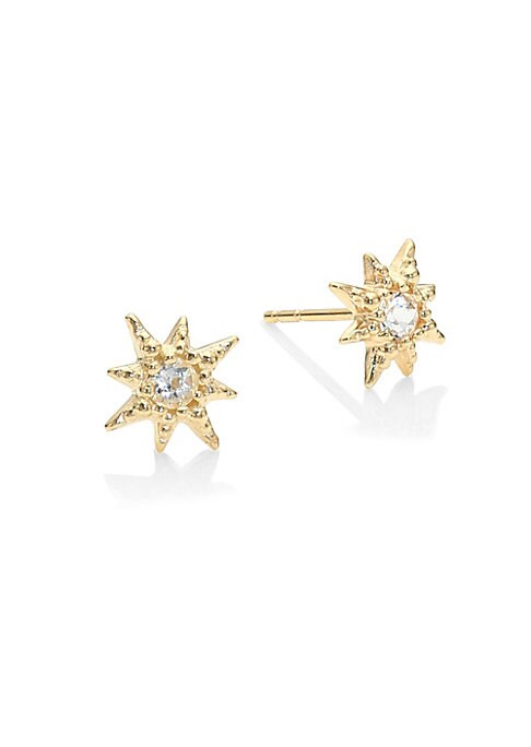 Image of Faceted Clear Topaz gemstones are encrusted in a unique micro golden setting, inspired by a starburst's silhouette. These dainty earrings are elegant, unique and perfect for everyday wear. From the Aztec Collection. White topaz.14K yellow gold. Diameter,