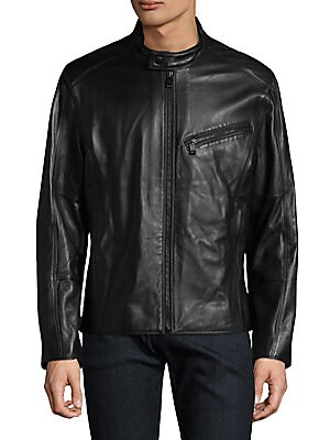 """Image of Smooth leather motorcycle jacket with snap collar. Stand collar with snap closure Long sleeves Zip cuffs Exposed front zip Side slip pockets Lined Leather Dry clean by a leather specialist Imported SIZE & FIT Modern fit About 26"""" from shoulder to hem. Men"""