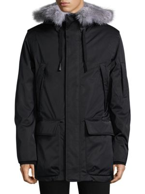 ANDREW MARC Explorer Waterproof Fur-Trimmed Parka Coat in Black