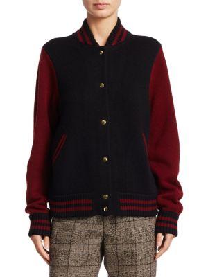 marc jacobs female wool cashmere varsity jacket