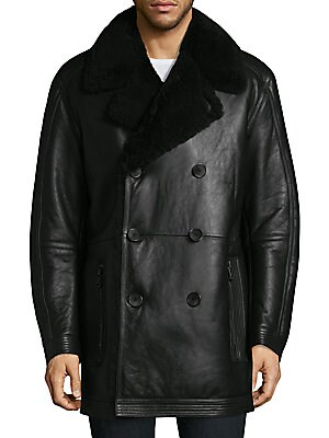 """Image of Shearling rendition of a double-breasted jacket Notch lapels Long sleeves Button front Front zip pockets About 36"""" from shoulder to hem Fur type: Dyed sheep Fur origin: United States Professional clean Imported. Men Luxury Coll - Seasonal Classifications"""