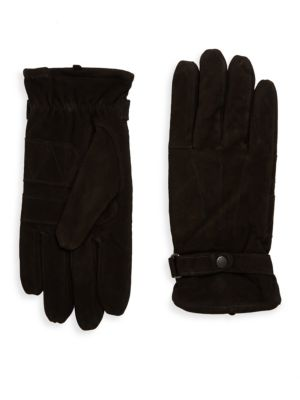 Image of .Stylish leather gloves featuring textured finish. .Adjustable cuffs. .Lined. .Leather. .Imported. .
