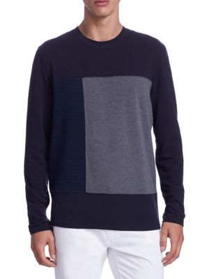 Image of EXCLUSIVELY OURS. Tee with contrast color blocked panels. Crewneck. Long sleeves. Pullover style. Lyocell/cotton/polyurethane/viscose/polyester. Hand wash. Imported.