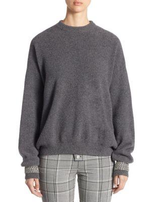 Crystal-Cuff Wool Crewneck Pullover by Alexander Wang