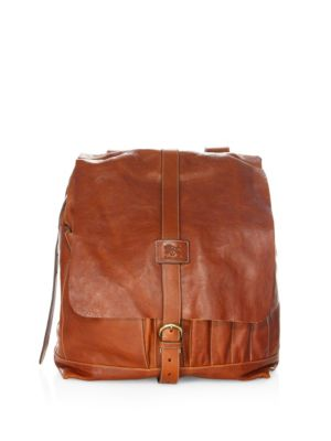 IL BISONTE Buckle-Strap Backpack in Brown