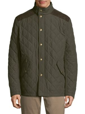 Image of Stand collar jacket featuring a quilted design. Stand collar. Long sleeves. Concealed front zip. Front snap closure. Front snap flap pockets. Front zip pocket. Contrast elbow patches. Polyester. Machine wash. Imported.