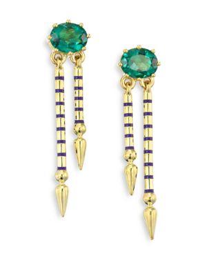 SARAH HENDLER Shirley Peridot & 18K Yellow Gold Double Spear Earrings in Green