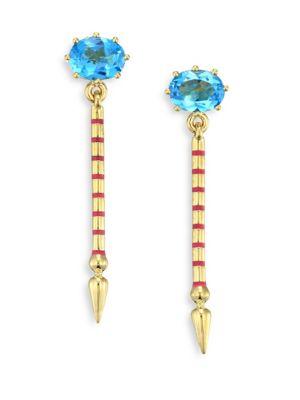 SARAH HENDLER Shirley Blue Topaz & 18K Yellow Gold Single Spear Earrings
