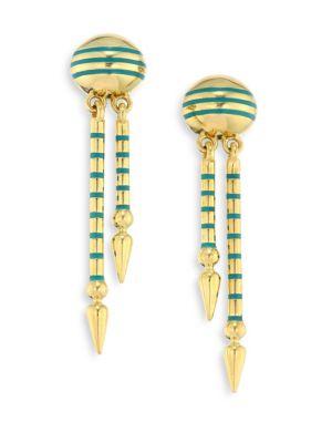 SARAH HENDLER Shirley Enamel & 18K Yellow Gold Spear Drop Earrings in Turquoise