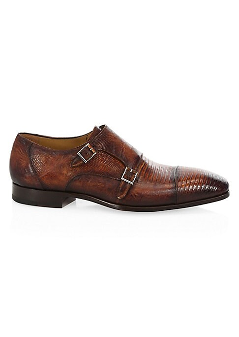Image of EXCLUSIVELY OURS. Double monk strap shoe crafted in textured lizard. Leather upper. Cap toe. Adjustable monk straps. Leather lining and sole. Made in Spain.