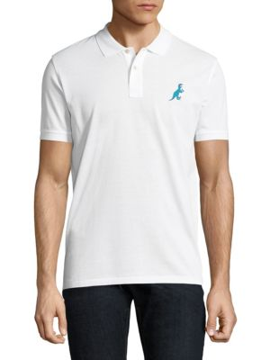 Image of Cotton polo featuring minimalist graphic at chest. Polo collar. Short sleeves. Two-button placket. Cotton. Machine wash. Imported.