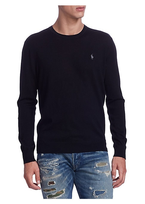 """Image of .Cashmere crewneck sweater with logo embroidery. .Crewneck. .Long sleeves. .Pullover style. .About 29"""" from shoulder to hem. .Cashmere. .Machine wash. .Imported. ."""