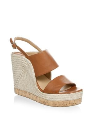 Women'S Leather Slingback Espadrille Wedge Sandals, Brown