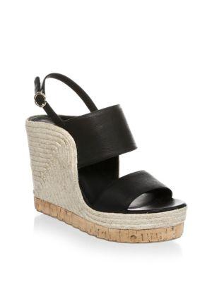 8d34e9aab28b Salvatore Ferragamo Women S Leather Slingback Espadrille Wedge Sandals In  Black