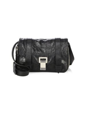 Mini Ps1 Lambskin Leather Crossbody Bag - Black