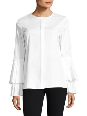 Nemy Pleated Sleeve Blouse by Lafayette 148 New York