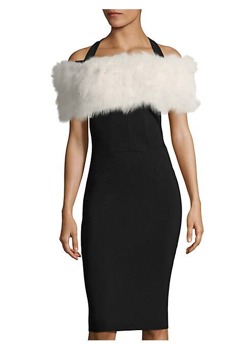 Image of Featuring evening stretchy loop made from fox fur. Fur type: Dyed fox. Fur origin: China. Dry clean by fur specialist. Imported.