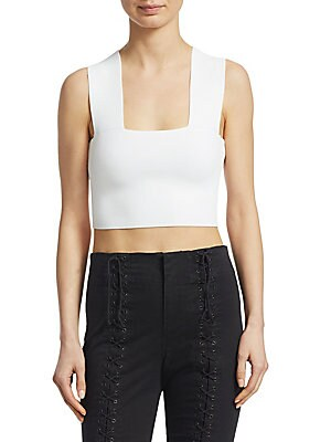 """Image of A minimalistic design in a trendy cropped silhouette Square neck Sleeveless About 15"""" from shoulder to hem Rayon/nylon/spandex Dry clean Imported Model shown is 5'10"""" (177cm) wearing size Small. Contemporary Sp - Workshop > Saks Fifth Avenue. A.L.C. Color"""