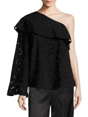 One Shoulder Ruffle Front Top by Diane von Furstenberg