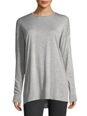Long-Sleeve Crewneck Featherweight Jersey Top, Plus Size, Grey Melange