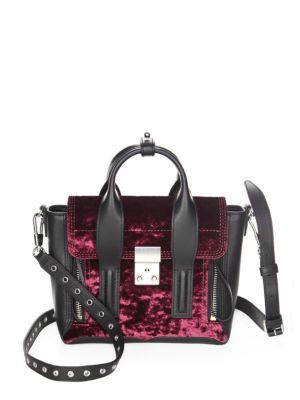 Pashli Mini Satchel Black Leather And Bordeaux Velvet Handbag, Raisin
