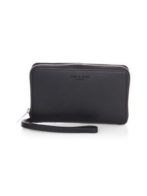 Zip-Around Leather Phone Wallet, Black