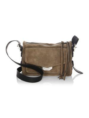 Field Messenger Suede Crossbody Bag in Grey