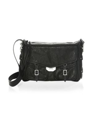 Black Leather Small Field Messenger Bag