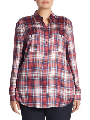 Plaid Long Blouse by Basler, Plus Size