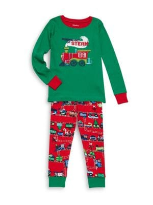 Toddlers Little Boys  Boys TwoPiece Magical Christmas Train Applique Cotton Pajamas