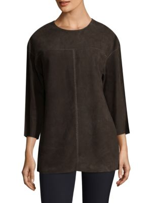 Divya Suede Blouse by Lafayette 148 New York