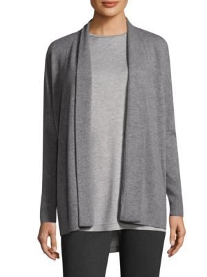 "Image of Modern-style cardigan neatly crafted from plush cashmere. Open front. Dropped shoulders. Long sleeves. Rib-knit cuffs and hem. Lined. About 29"" from shoulder to hem. Cashmere. Hand wash. Imported. Model shown is 5'10"" (177cm) wearing size Small."