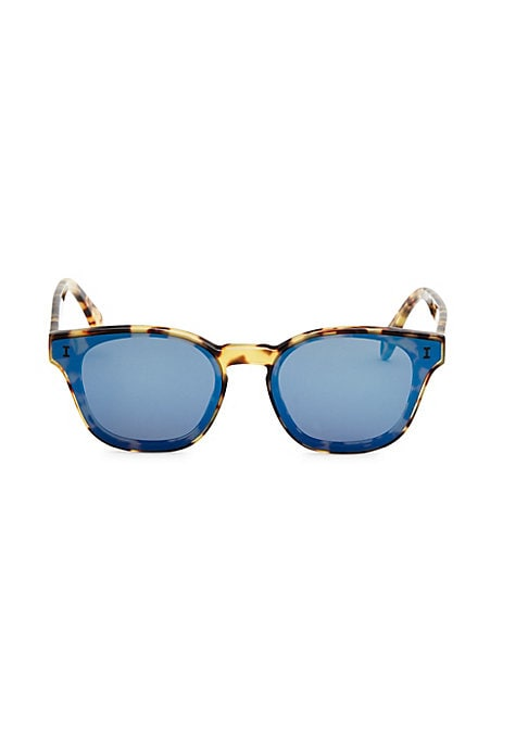 Image of Blue tinge leopard print sunglasses.61mm lens width; 16mm bridge width; 145mm temple length.100% UV protection. Blue mirror lenses. Case and cleaning cloth included. Acetate. Made in Italy.
