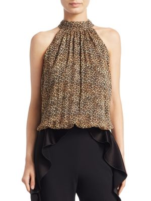 Maris Halter Leopard Blouse by Alice + Olivia