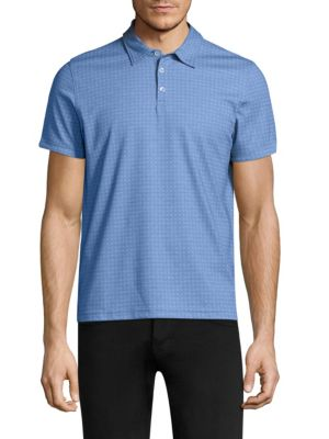 Image of Cotton-blend polo printed with patterned design. Spread collar. Short sleeves. Three-button placket. Cotton/polyester. Machine wash. Imported.