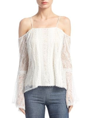 Shera Bell-Sleeves Cold Shoulder Top by Alice + Olivia
