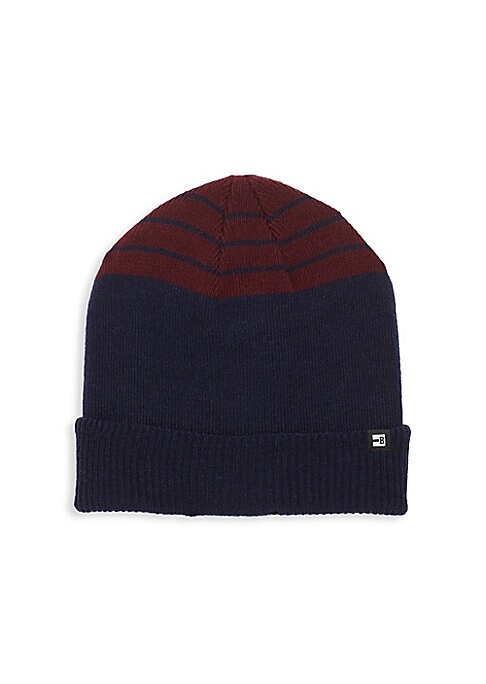 Image of .Rib-knit beanie finished with a two-toned design. .Folded brim. .Acrylic. .Dry clean. .Imported. .