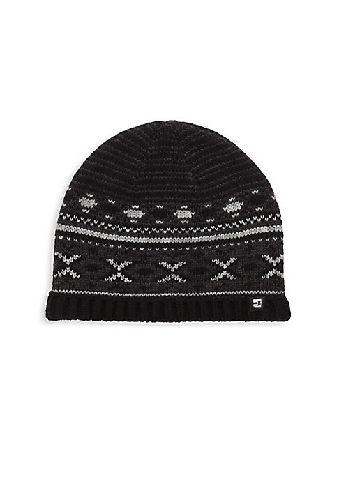 Image of .Rib-knit beanie finished with geometrical design. .Acrylic. .Dry clean. .Imported. .