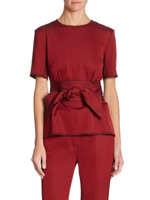 Wool Tie Waist Top by Victoria, Victoria Beckham