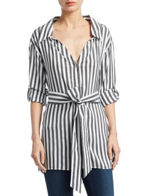 Tate Stripe Casual Button-Down Shirt by Alice + Olivia