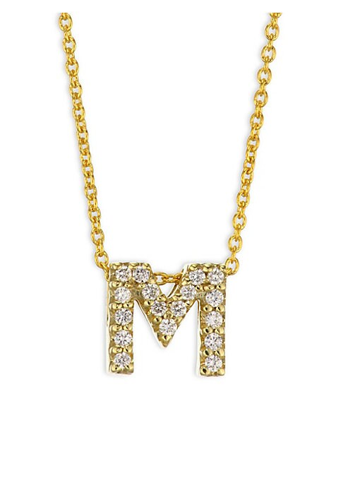 """Image of From the Tiny Treasures Collection. Shimmering diamond letter pendant centers yellow gold necklace. Diamonds, 0.12 tcw. 18k yellow gold. Length, 16"""" with 2"""" extender. Lobster clasp. Made in USA"""