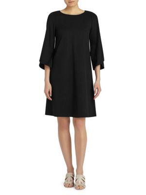 Fabiana Tulip-Sleeve A-Line Dress, Black